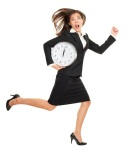 Business-woman-running-with-clock